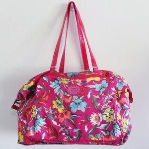 Oilily pink floral tropical weekender bag